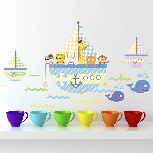 Cartoon Animals Wall Decor Sea Rover Wall Stickers for Kids Room Bedroom Home Decor Corsair Poster Mural Wallpaper Wall Decals