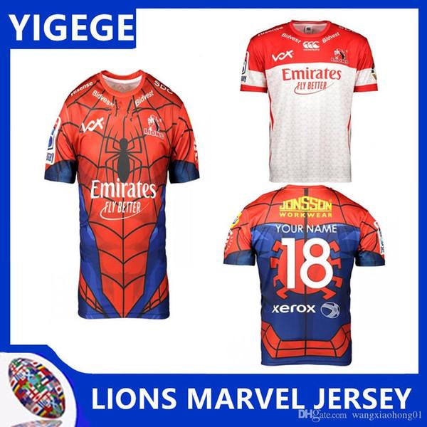 LIONS 2019 SUPER RUGBY MARVEL JERSEY 2019 2020 2019 nouveaux maillots de Super Rugby à XIII Lions de rugby Lions taille S-3XL (peut imprimer)