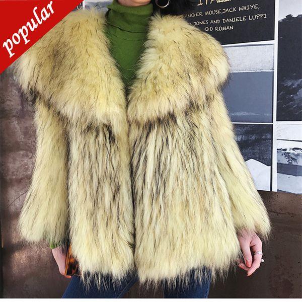Winter New Big Turn Down Collar Luxury Fake Raccoon Fur Coat Female Imitation Fur Coat Outerwear Free Size W1598
