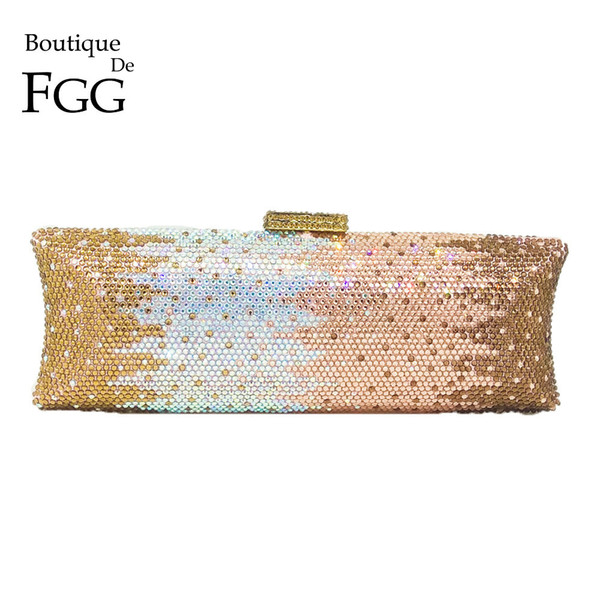 Boutique De Fgg Multi Champagne Women Crystal Bag Evening Purse Metal Minaudiere Clutches Wedding Party Bridal Diamond HandbagMX190822