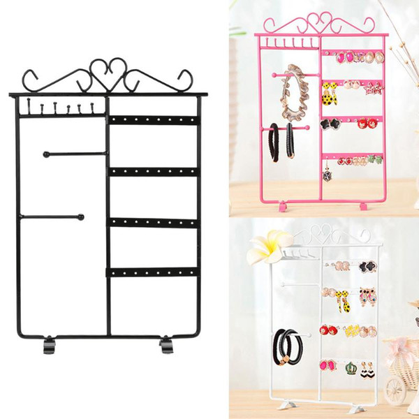 Jewelry Display Storage Hanging Holder Earring Necklace Studs Jewelry Display Rack Metal Stand Organizer Holder 2018