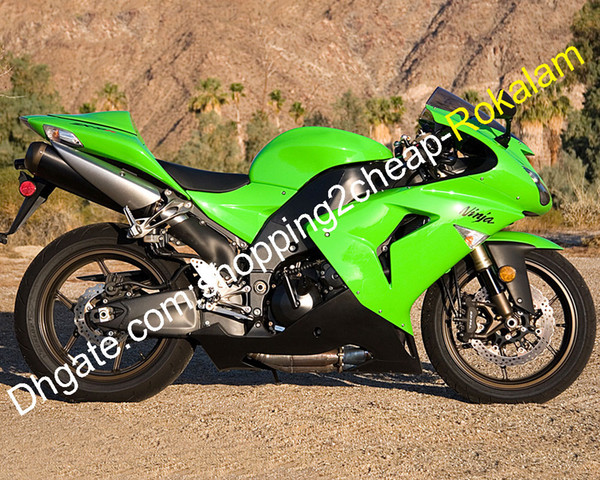 ZX-10R Moto Parts 06 07 For Kawasaki NINJA ZX 10R 2006 2007 ZX10R ZX 10 R Green Black ABS Fairing Kit (Injection molding)