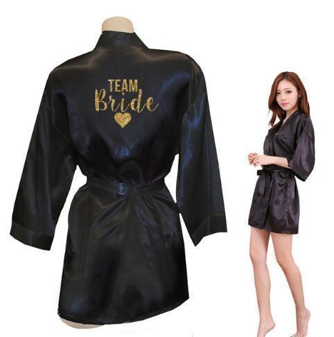 Kimono Robe Faux Silk Women Wedding Preparewear Bride Team Heart Golden Glitter Print Robes Bachelorette Pajamas Free Shipping