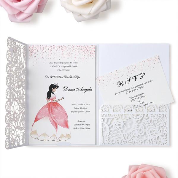 Compre 2019 Flor Blanca Del Cordón Folds 3 Nueva Boda Del Modelo De La Ducha Tarjetas De Las Invitaciones Para La Boda Nupcial Invita Compromiso