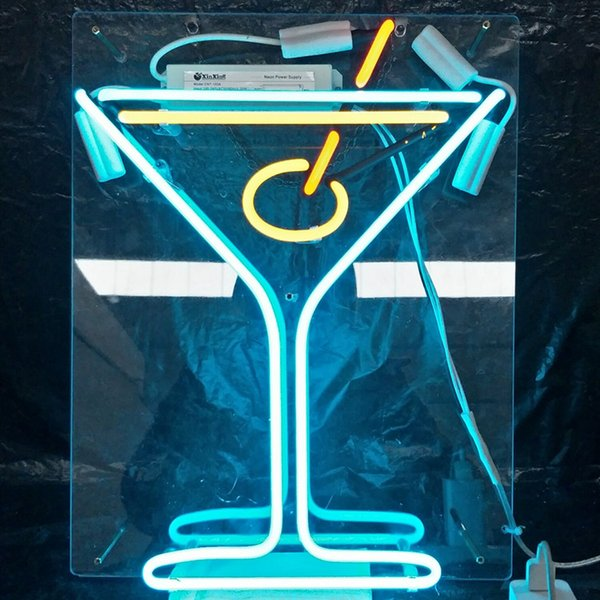 Cocktail Drink LED Neon Sign Light Custom Outdoor Display Bar Entertainment Decoration Glass Neon Lamp Light Metal Frame 17'' 20'' 24'' 30''