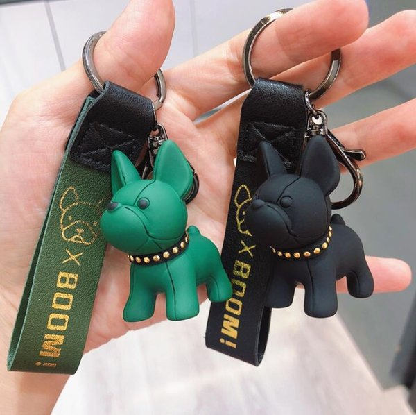 top popular French Bulldog Chain Rivet Puppy Car Keychain Key Bag Pendant Couple Gift 6 Colors DHL 2021