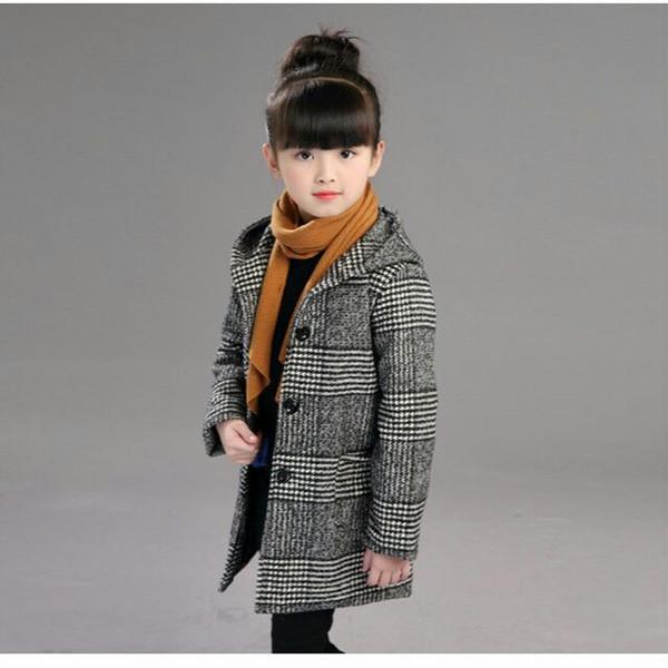 best selling 2018 Girls Autumn Winter Fashion Woolen Coat Jacket