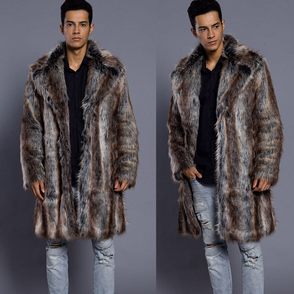 Fashion Mens Warm Thick Fur Collar Coat Jacket Faux Fur Parka Turn-down Collar Thicken Long Outwear Cardigan