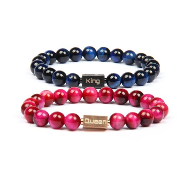 2 teile / satz Neue Luxus Paar Krone Schmuck König Und Königin Logo Edelstahl Fußball Armbänder 8mm Naturstein Perlen Drop Shipping