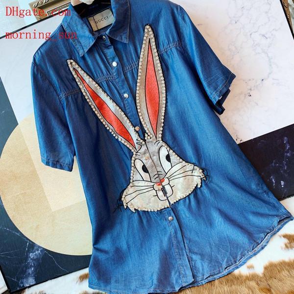 Vestidos de verão das mulheres Da Marca de moda t shirt tops Coelho manga curta mid-length shirt mulheres blusa de manga curta roupas femininas CS-10