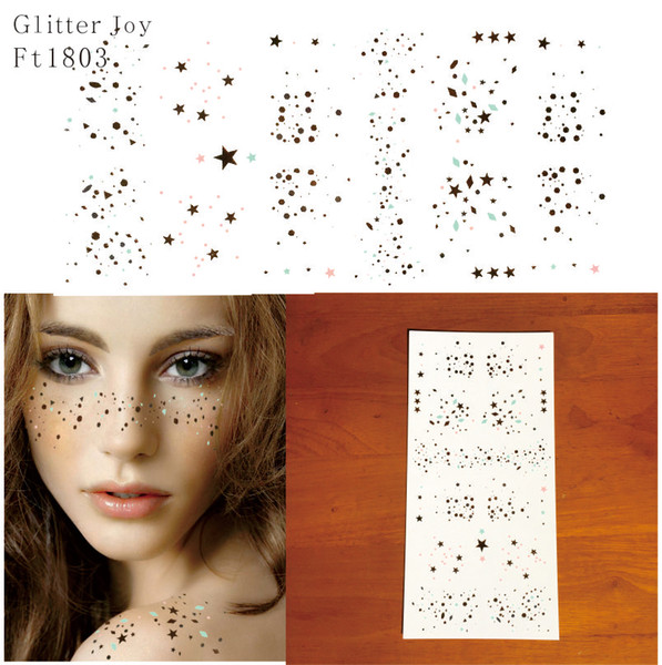 FT1803 Gold and Silver Scattered Star and Points Glitter Freckles Makeup Tattoo Sticker which is a New Way to wear Glitter