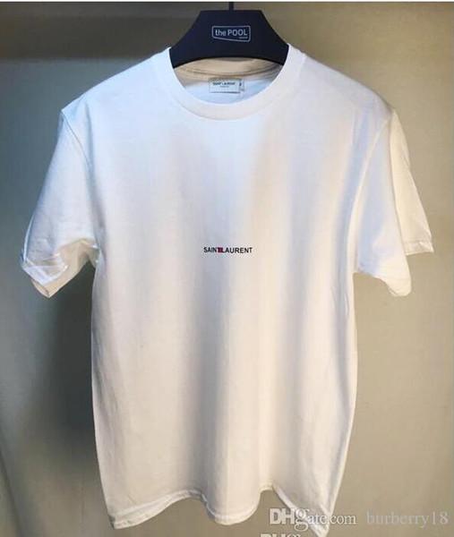 Marca de los hombres SAINT LAURE Camisetas de lujo Diseñador Carta Impresa camiseta Hip Hop Moda Casual Algodón manga corta