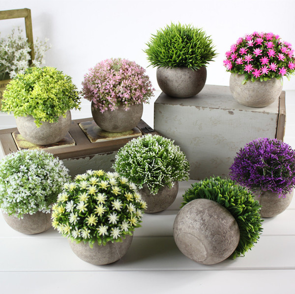 Fake Flower Grass Ball Plastic Bonsai Display Artificial Flower Simulation Green Plant Restoring Ancient Ways Home Furnishing Table Sets