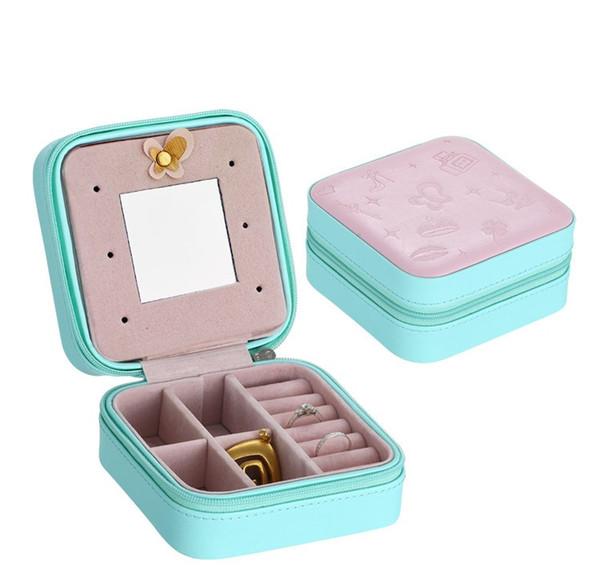 Mini contenitore di monili di cuoio portatile di viaggio con lo specchio cosmetico di trucco dell'organizzatore degli orecchini cofanetto la scatola di immagazzinaggio a tre strati migliore regalo W8508