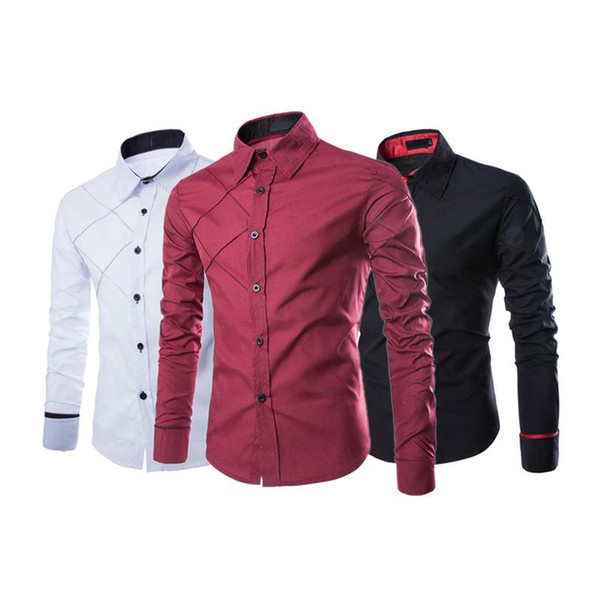 Casual Plaid Men's Large Size Long-Sleeved Shirt Thread Design Cotton Blend Thin Leisure Shirt Cardigan Black White Wine Red