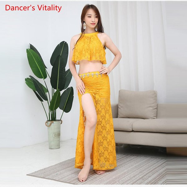 Women Belly Dance Competition Set Summer Lace Slit Dress Two-Piece Suit Dance Costume Costume Top+skirt 2pcs