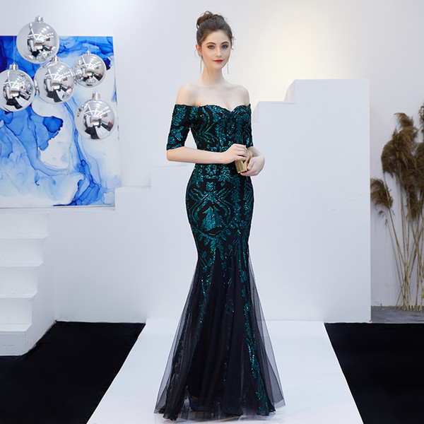 2b15b7cbf793 Dark Green Evening Dresses 2019 Bateau Mermaid Prom Dress Sequin African  Fashion Evening Dress Sexy Celebrity