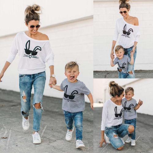 2019 conejito niños nuevo CALIENTE Familia verano la camiseta a juego Trajes Conejo hijo de la madre del bebé Las mujeres adultos de los niños Camiseta casual de las tapas