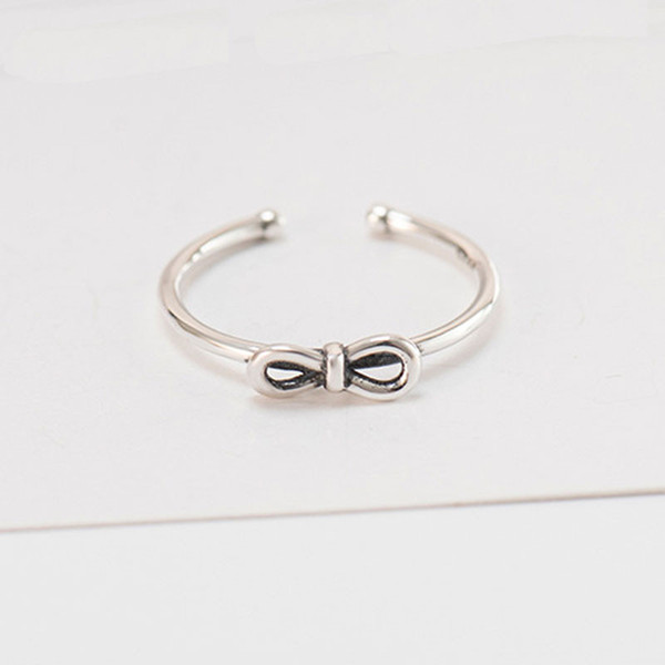 Vintage Bow Knot & Infinity Silver 925 Ring Women Open Adjustable Rings 2019 New Engagement Jewelry Drop Shipping YMR379