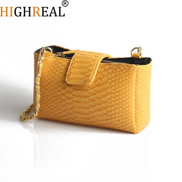 Cobra marca de moda Women Bag Serpentine Messenger Bag Cadeia Designer Shoulder Crossbody Mulheres Handbag Clutch amarela
