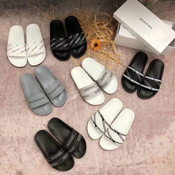 Мода слайд сандалии тапочки для мужчин женщин с оригинальной коробке горячей дизайнерской обуви роскошь унисекс Главная пляж шлепанцы тапочки высшего качества