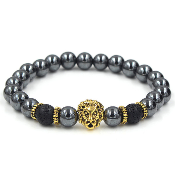 2019 New Fashion Beaded Bracelet Leopard Lion Crown Bracelets Round Bead Charm Bracelets & Bangles For Men Jewelry