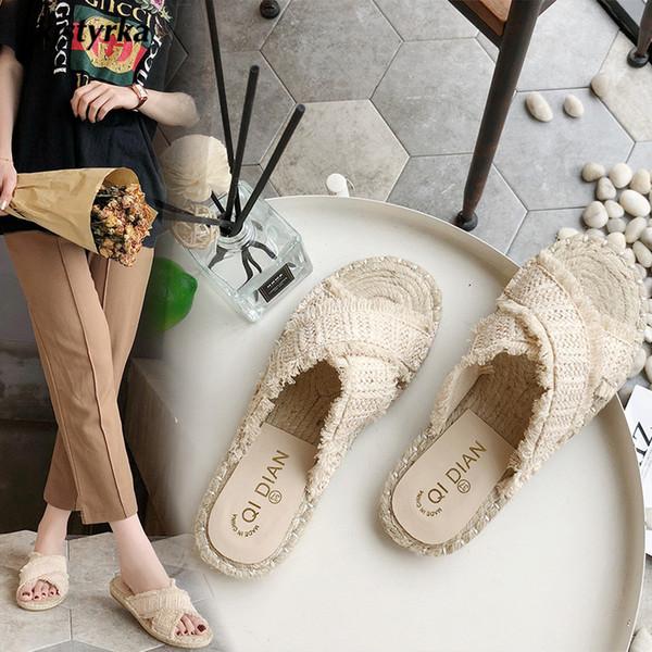 Toptan 2018 Marka tasarımcısı Kadın Terlik YazRural aşk duyguları Dokuma hasır sandalet bayanlar Plaj Terlik zapatos