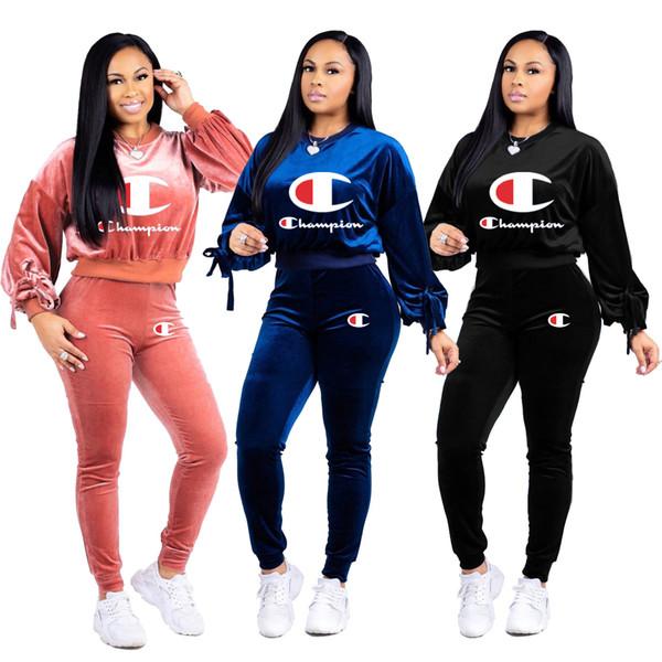 Bayan Eşofman Sweatsuit Üst ve Uzun Pantolon 2 Parça Kadın Set Kadın Pamuk Rahat Spor kadın eşofman kıyafetler artı boyutu