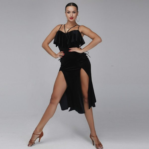 Latin Dance Dress Women Latin Style Dress Samba Costume Salsa Practice Wear Dance Costumes Black Velvet Wear