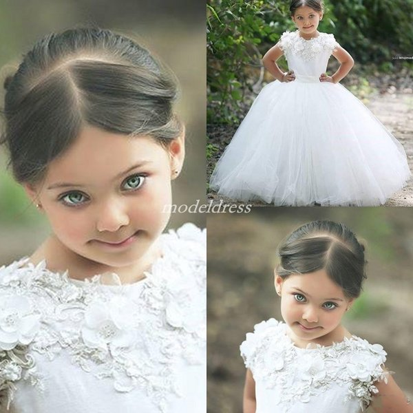 2019 White Ball Gown Flower Girl Dresses For Wedding Jewel 3D Flowers Floor Length Child Birthday Party Gowns Girls Pageant Dress Cheap
