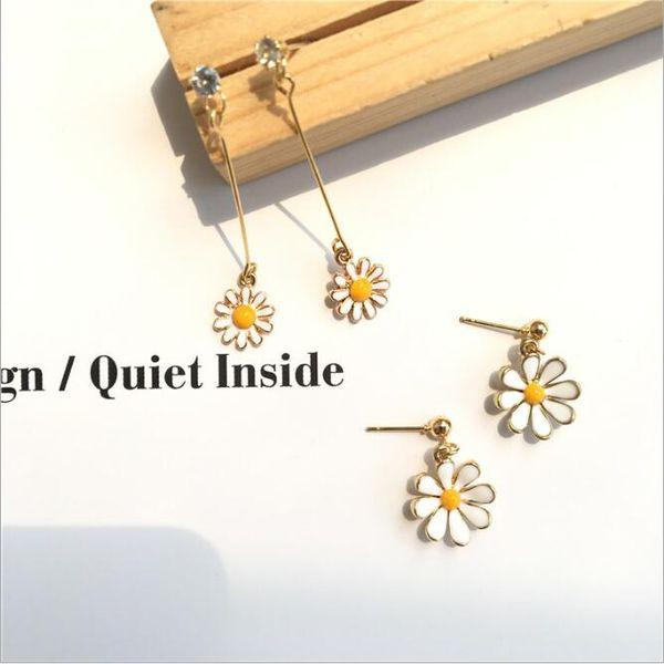 Sweet Fresh Daisy Blume Ohrstecker Korean Style Zirkon Ohrringe Blossom lange Ohrringe für Mädchen Frauen Temperament Einfache Schmuck