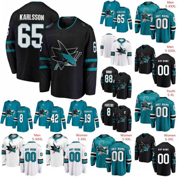 Custom San Jose Sharks 2019 Black Third Jersey Cualquier número Nombre hombres mujeres jóvenes niños White Teal Green Vintage Burns Karlsson Kane Pavelski