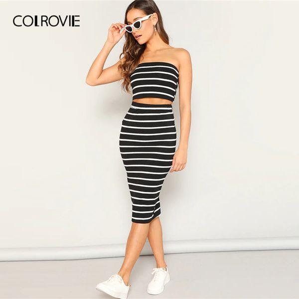 COLROVIE Black Striped Strapless Crop Bandeau Top With Split Skirt Set Women Two Piece Set 2019 Summer Sleeveless Sexy Suit