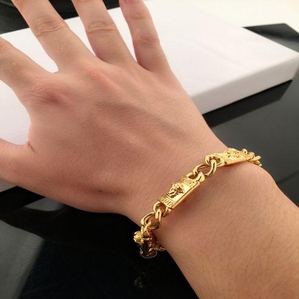 Новый Новейший золотой цвет Браслеты Большой фирменный стиль браслет-браслет Medusa с двумя головками высокого качества покрытие цвета высокого класса