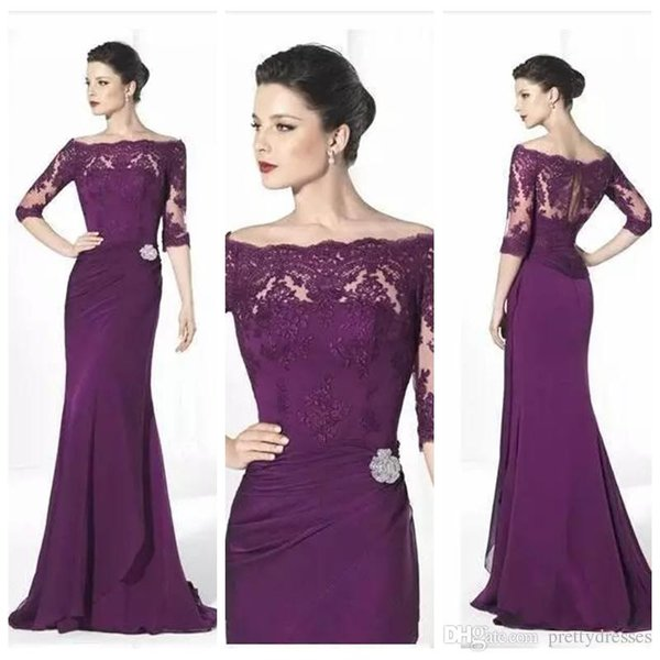 modest lace half sleeves mermaid slim mother dresses sweep train long vestidos de mother of the bride dresses party gowns evening gowns - from $163.73