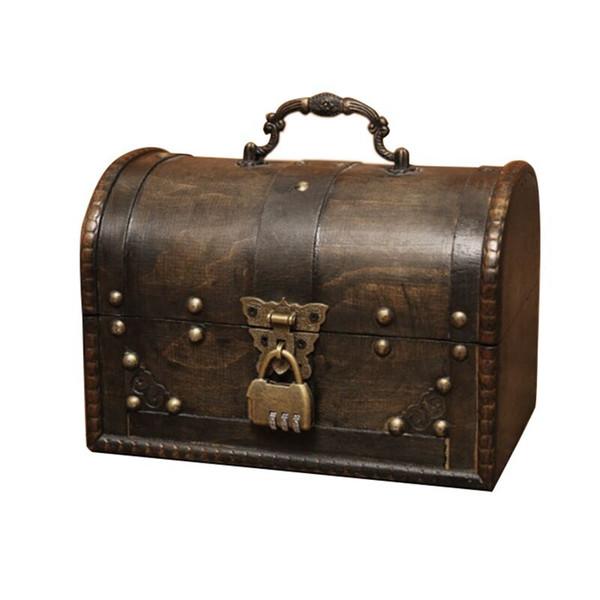 Ahşap organizatörü için Şık Ahşap Korsan Mücevher Saklama Kutusu Vaka Tutucu Vintage Hazine Sandığı