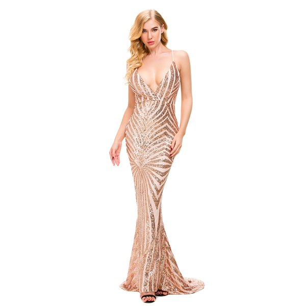 Sleeveless Stretch Sequined Party Dresses Deep V Neck Gold Black Maxi Backless Bodycon Long Lining Evening Club Mermaid