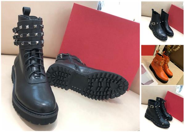 Mode de luxe de femmes Bottes en cuir noir clouté Spikes Bottes Rivet hiver Chaussures Casual High Cut Boot Party genou cheville robe Sneake