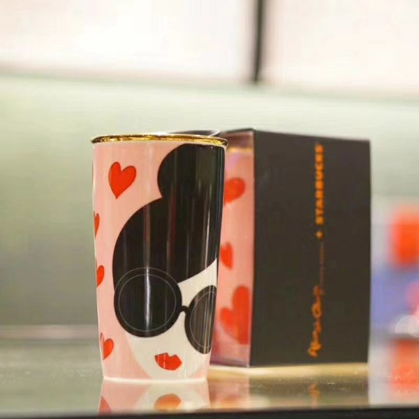 Starbucks Alice Olivia День святого Валентина Розовый чашка кофе Золотой край Двойная изоляция керамики Кружки из dooor в автомобиле Сопровождающие чашки 12oz