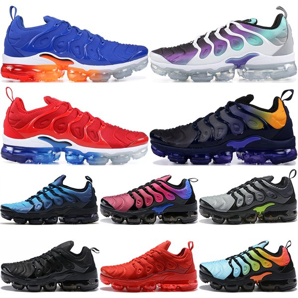 TN Plus Men Running Shoes Triple Black White Sunset Photo Blue Wolf Grey USA Cream Sicle Women Designer Shoes Sport Sneakers Trainers 36-45