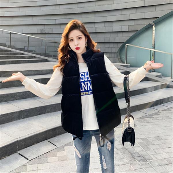 colete velvet new solid warm autumn 2019 women cotton outwear sleeveless vest jacket waistcoat winter sleeveless pocket coat