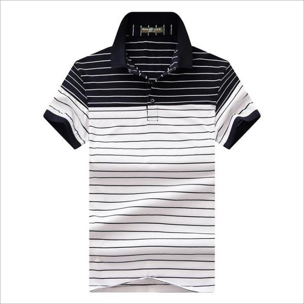 2019 summer new High quality cotton Polos classic Men Polo Shirt Men Business Casual Stripe splicing Short Sleeve tops tee M-4XL