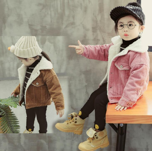 2018 winter fashion children's corduroy jacket children's lamb hair thick warm boys and girls tops free shipping