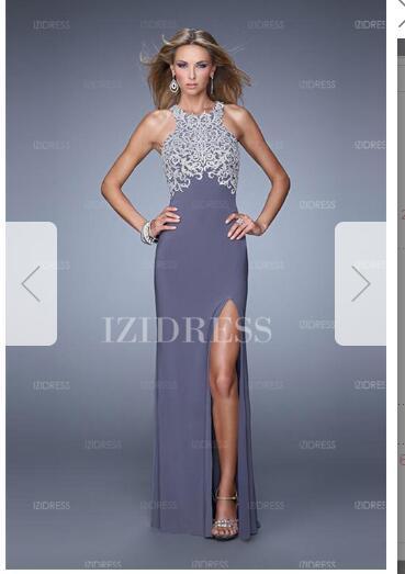 Sheath/Column Jewel Floor-length Jersey Prom Dressw75