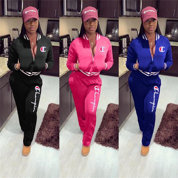 여성 챔피언스 편지 운동복 긴 소매 지퍼 재킷 스웨터 + 바지 레깅스 2 피스 정장 브랜드 코트 의상 야구 의류 T913
