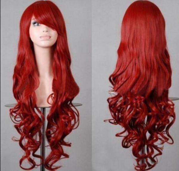 PERUK nakliye Seksi Sıcak Şarap Kırmızı Anime Cosplay Parti Peruk Bayan Tam Uzun Kıvırcık Saç