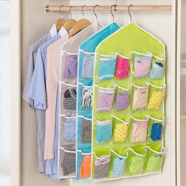 16 poches sac suspendu plier clair sur la porte chaussures rack cintre rangement bien rangé organisateur maison tranaparent placard pochette de rangement 80 * 40 cm FFA1930