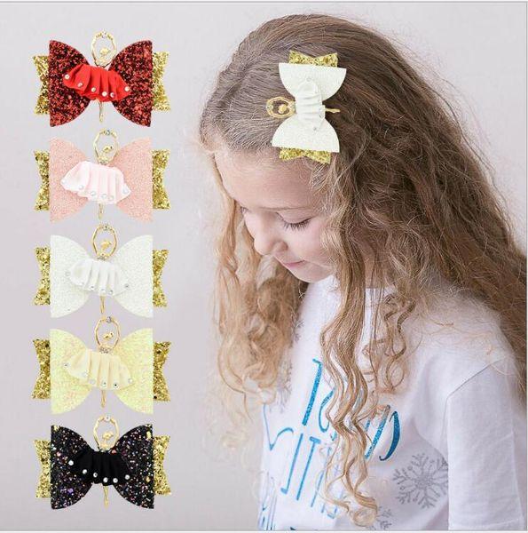 Paillettes Pinces À Cheveux Adorable Ballet Fille Glitter Cheveux Arcs pour Enfants Sparkly Party Hairgrips Mode Accessoires De Cheveux 5 Couleurs Livraison Gratuite