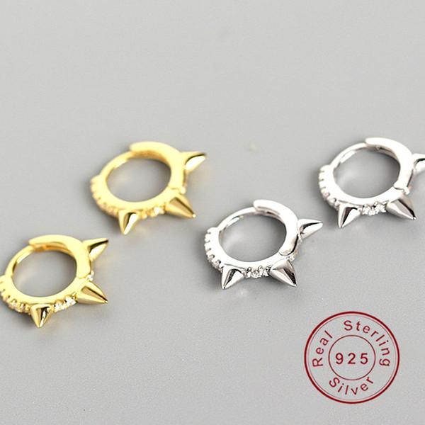 Ear clipe de caráter geometria do punk fivela Small Circle 925 brincos pura de argola prata para as mulheres aniversário simples feminino Jóias