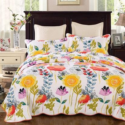 FLOWER Floral Baumwolle Quilten Quilts Waterwash Luxus Printed American Bedspread Bettwäsche 3pcs Bedcover Kissenbezug Set King Size